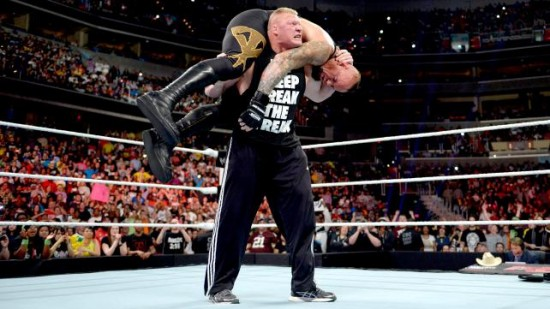 Brock Lesnar hitting Undertaker with a F5