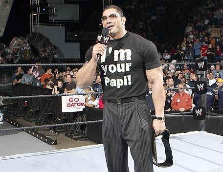 Batista In Funny T-Shirt On Mike