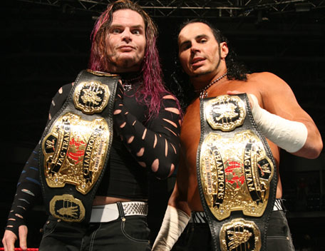 Hardy Bros Showing His Tittle Belts