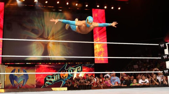 Sin Cara Entrance Jumps From Ropes