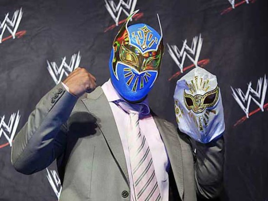 Sin Cara Posing With His Mask