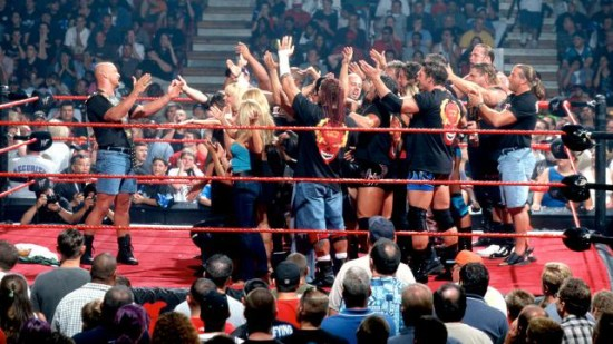 Stone Cold In Front OF WWE Superstars In Ring