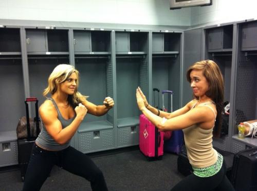WWE Diva Kaitlyn and A.J During Practice Session