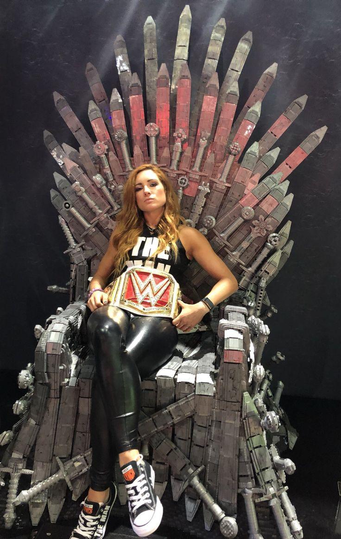 Becky Lynch Sitting on a Throne