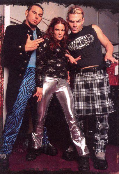 Jeff Hardy with Matt Hardy and Lita